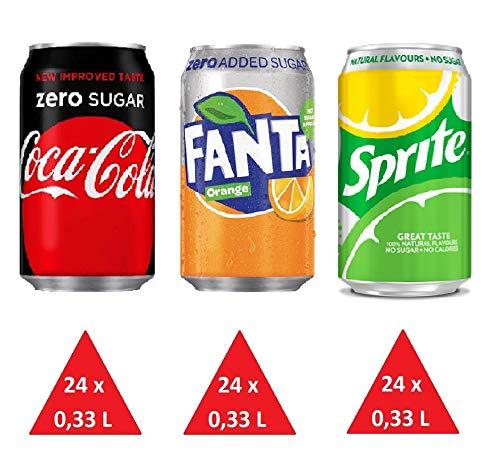 bester Test von coca cola zero Zuckerfreier Behälter: (24 x Coca-Cola Zero, 24 x Fanta Zero, 24 x Sprite zuckerfrei) 72 Dosen à 0,33 Liter…