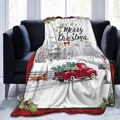 "Christmas Blanket, Vintage Red Truck Fuzzy Soft Flannel Throw Blanket For Women Children, Christmas Snowman Tree Buffalo Plaid Winter Thick Warm Fleece Blanket For Couch Bed Living Room 50""X40"""