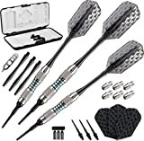 Viper Bobcat Adjustable Weight Soft Tip Darts with Storage/Travel Case: Nickel Silver Plated, Light Blue Rings, 16-18 Grams