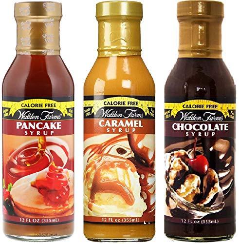 【3個セット】カロリーフリー Walden Farms ウォルデンファーム キャラメルシロップ355ml&チョコレートシロップ355ml&パンケーキシロップ355ml [並行輸入品]