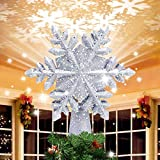 FROGBRO Christmas Tree Topper Snowflake Lighted with Rotating Silver Snowflake Projector -3D Hollow Lighted Silver Snow Tree Topper for...