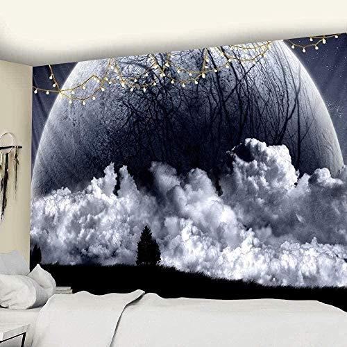 Yhjdcc Tapiz para dormitorio, blanco y negro, diseño de luna estrellada, para pared, playa, picnic, yoga, sala de estar, tela de pared, 150 cm x 200 cm