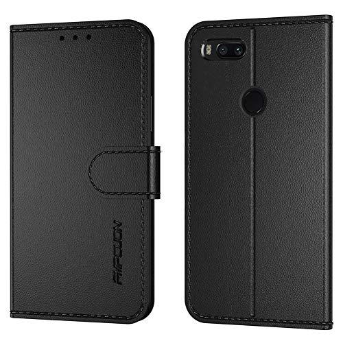 FMPCUON Funda para Xiaomi Mi A1/RedMi 5X,Flip Case Magnético Funda de Cuero PU Premium Folio Carcasa móviles Caso Libro para Xiaomi Mi A1/RedMi 5X -Negro