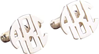925 Sterling Silver Personalized Men Wedding Pairs Cuff Links Custom Made with Any Initials