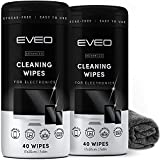 Electronics Wipes for Screen Cleaner [2 Pack x 40] TV Screen, Computer Screen, Laptop, Phone, Tablet, Smart Watch, and Electronics Devices - Microfiber Cloth Included, Streak-Free [80 Wipes]