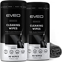 Electronic Wipes for Screen Cleaner [2 Pack x 40] TV Screen, Computer Screen, Laptop, Phone, Tablet, Smart Watch, and Electronics Devices - Microfiber Cloth Included, Streak-Free [80 Wipes]