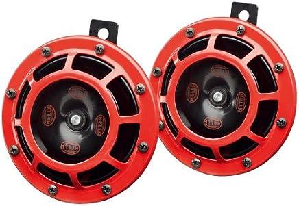 【ドイツ HELLA/ヘラー社製】 スーパー ツイン トーン (ディスク タイプ) ホーン 「Super Twin Tone Horn」 カラー : レッド(アウター)/ブラック(インナー) ・ 内容 : 高音+低音 2p セット 車検対応 ※ HELLA/ヘラー社は、 BENZ、BMW等の欧州車自動車メーカーへ純正  (OEM) パーツを供給している、ドイツを代表する信頼のメーカーです。 320288