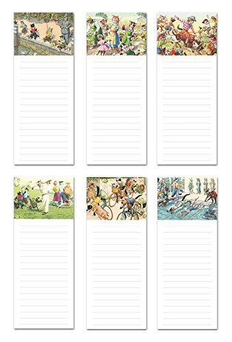 Note Card Cafe 6-Pack Magnetic Notepads for Fridge | 50 Sheets per Pack | 3.5 x 9 in | Vintage Crazy Cats | Great for to-Do List, Grocery Shopping List, School Reminders