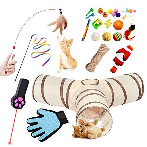 SCL Katzenspielzeug [25 Stück] Katzentunnel 3-Wege Haustier Tunnel Katze Toys Variety Spielzeug Set Spieltunnel Federspielzeug Bälle Verschiedene Spielzeug für Kätzchen, Welpen, Kaninchen