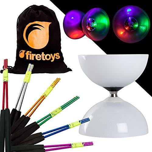 Juggle Dream Diabolo-Set mit LED-Kugellager, mit farbigen Aluminium-Diablo-Stäben und Firetoys Baumwolltasche, verschiedene Farben erhältlich Inklusive Batterien Silberne Sticks.