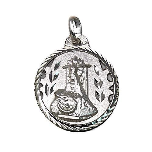 Medalla Plata Ley 925M Escapulario 20mm. Virgen De Las Angustias Sagrado Corazón Cerco Tallado