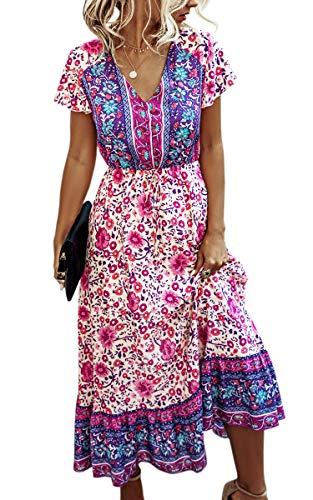 Spec4Y Maxikleid Damen Sommer Blumen Sommerkleider Lang Kleider Kurzarm V-Ausschnitt Strandkleider mit Kordelzug 190 Violett Large