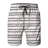 jiilwkie Bañador de baño de Secado rápido para Hombres Shorts de Playa Costuras Decorativas de Bordado s L