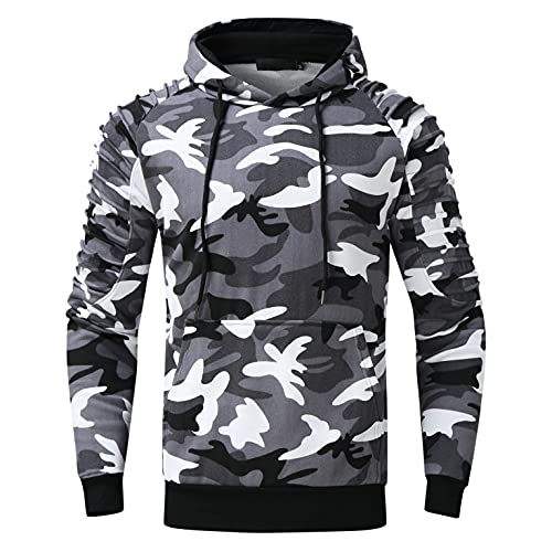 XUNFUN Men's Camouflage Hoodies Fashion Striped Pleated Raglan Long Sleeve Casual Athletic Pullover Sweatshirts with Pocket