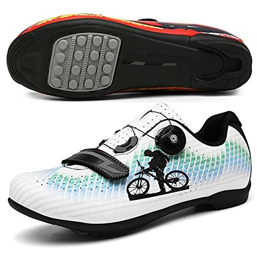 Sebasty Zapatillas de Bicicleta de Montaña Ligeras y Transpirables,Zapatillas de Bicicleta MTB de Goma de Nailon,Zapatillas de Bicicleta de Carretera para Hombres y Mujeres,Blue-45