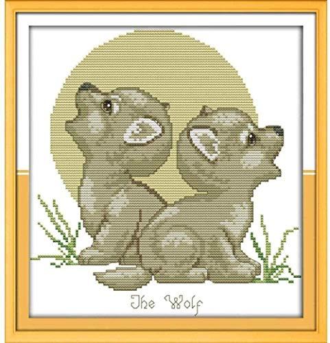 punto de cruz Kit-cachorro de lobo -Bordado de kit Cross stitch DIY adecuado para principiantes decoración del hogar 40x50 cm (lienzo preimpreso 11CT)