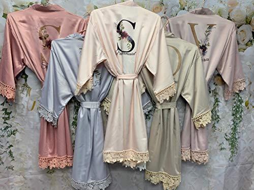 Satin Bridal Robes, Bridesmaid Proposal, Custom Robes, Silk Bridesmaid Robes, Wedding Robe, Bridal Party Gift, Bridesmaid Robe, Satin Robe, Bridal Party Robes, Lace Satin Robes