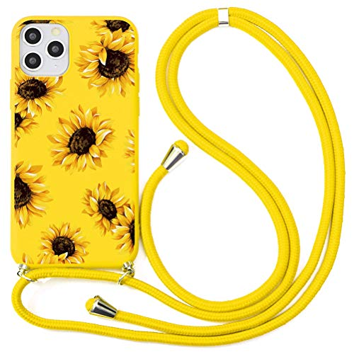 ZhuoFan Funda con Cuerda para iPhone 6 Plus / 6s Plus Funda [5.5'] Amarillo Dibujos Carcasa de Silicona Suave Case con Colgante Cordon Colgar Correa de Cuello Antichoque Bumper para iPhone 6 Plus