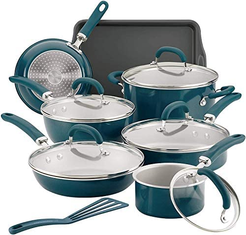 Rachael Ray Create Delicious Nonstick Cookware Set 13 Piece Aluminum Teal Shimmer product image