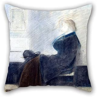 MaSoyy 16 X 16 Inches / 40 by 40 cm Oil Painting James Whistler - Study of Thomas Carlyle Pillow Covers 2 Sides is Fit for Relatives Him Festival Wife Chair Dining Room