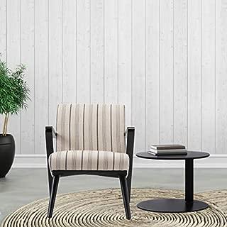 Modern Farmhouse Chair - Burlap Stripe Upholstered Wood Armchair - Vintage Blue and Beige