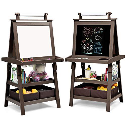 GOPLUS 3 in 1 Standtafel für Kinder, Magnetisches Whiteboard & Kreidetafel, Doppelseitiger Staffelei mit Aufbewahrungsbox, Maltafel, Schreibtafel, Kindertafel Ink. Malpapier und Magneten (Braun)