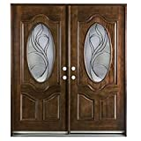 36'X36'X80' Exterior Entry Front Door Montrouge Style Right Hand in-Swing Prehung Stained Double Door Solid Wood-Oval Glass