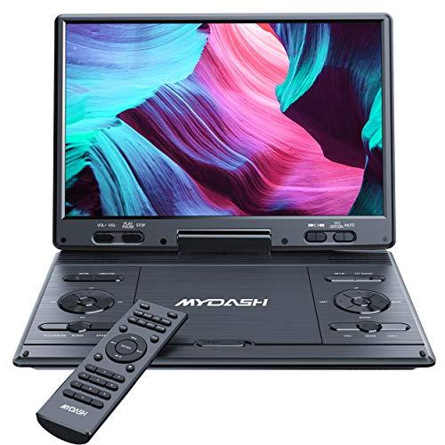 """MYDASH14.1 Lecteur DVD Portable pour Voiture avec Grand écran HD pivotant de 12,5"""" Design Exclusif des Boutons,Support Fente pour Carte SD et Port USB, Fonction de synchronisation du projecteur TV"""