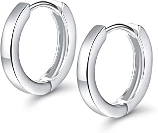 Zolkamery Damen Creolen 925 Sterling Silber Ohrringe Durchmesser 13mm Glänzend Klein Sleeper Kreolen Rund Kreis Huggie Hoop Allergenfrei Ohrschmuck für Frauen und Mädchen für Alltag Party