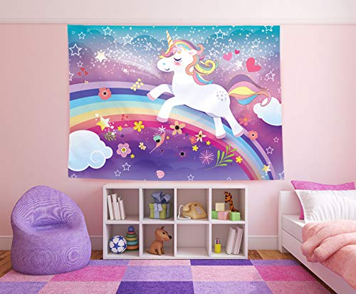 Magical Unicorn Theme Photography Backdrop & Studio Prop. Great as Photo Booth Background, Rainbow Birthday Party Supplies and Princess Baby Shower Decorations
