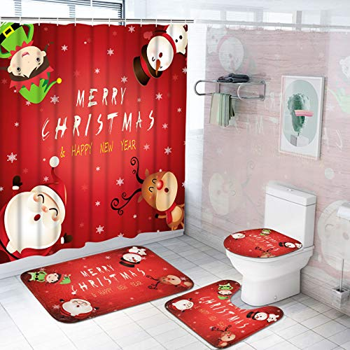 Pknoclan 4Pcs Merry Christmas Shower Curtain Set with Non-Slip Rug, Toilet Lid Cover and Bath Mat, Xmas Snowman Red Shower Curtains with 12 Hooks, Christmas Santa Shower Curtain Sets for Bathroom