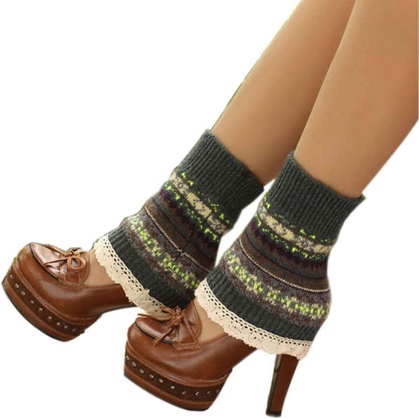 Women's Short Boots Socks Knitted Boot Cuffs Ladies Leg Warmers Socks Lace Edge, Dark Green