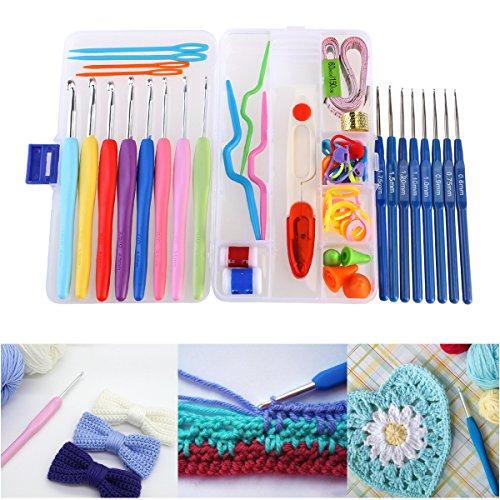 Agulhas de crochê NUOLUX 16 peças de agulhas de tricô com cabo macio de alumínio cor aleatória