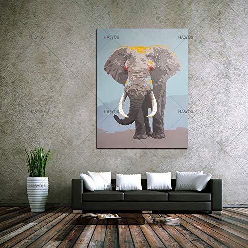wZUN Elefante Familia Animal Pintura al óleo decoración de la habitación Pintura Sala de Estar Pintura al óleo Mapa de Imagen 40x60 Sin Marco