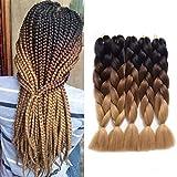 MYCHANSON 5Pcs Synthetic Braiding Hair Extensions 24 Inch Ombre Jumbo Twist...