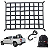SurmountWay Cargo Net Capacity 1100LBS Truck Bed Cargo Net 5.5' x 4.1' Rugged Truck Bed Cargo Net ,Heavy Duty Cargo Nets for Pickup Trucks with Cam Buckles & S-Hooks(66' x 50' )