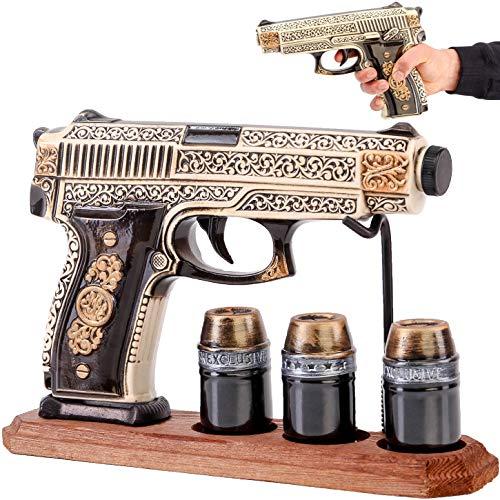 Juego de decantador de pistola de 500 ml - 3 vasos de chupito para alcohol - whisky vodka tequila licor brendy coñac vino - herramientas de alcohol - regalo único relacionado con el alcohol