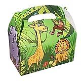 Cajas de regalo Safari con divertidos animales para plegar de cartón, 12 unidades, para cumpleaños infantiles y fiestas temáticas