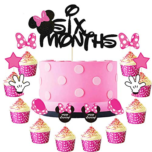 Minnie Six Months Cake Topper Pink and Balck Minnie Inspired 1/2 Year Birthday Cupcake Topper Mouse 6 Months Pregnant/One Half Year/100 Days Birthday Baby Shower Party Cake Supplies Decorations