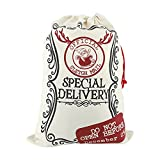 Hileyu Saco De Papá Noel 50x70cm Sacos Personalizados Navidad Saco Extra Grandes Reno Bolsa de Lona con cordón Bolsas De Regalo Navidad De Santa Saco de calcetín Navidad para decoración