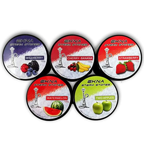 EKNA® Lot de 5 pierres à vapeur pour chicha de 120 g, sans nicotine, alternative au tabac, saveur fruitée intense