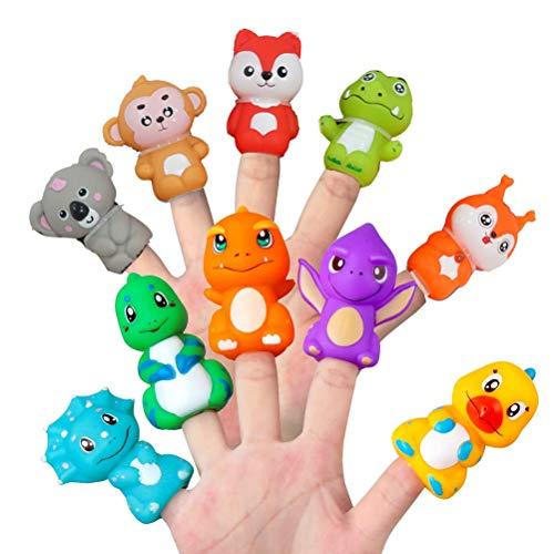 NIVNI juego de cerebro, 10 pcs de PVC Animales Títeres de Dedo Colorido de Cuentos de Títeres de Juguete para la Enseñanza de Mostrar Fiesta Favores para Niños