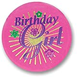 Birthday Girl Satin Button With Violet Print 2' Party Accessory