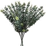 5 piezas artificiales de eucalipto de imitación de eucalipto de eucalipto de imitación en spray de hojas artificiales de 3 ramas de eucalipto falso para el hogar, boda, fiesta, arreglo floral