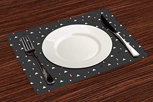 Lot de 4 Sets de Table,Géométrique, bandes de couleur des triangles Memphis Résumé Art graphique futur,Lavable Napperons pour Cuisine ou pour Table à Manger Résiste à la Chaleur Antidérapant (30x45cm)
