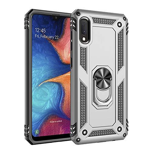 Soporte de anillo compatible con Samsung Galaxy A10E, doble capa híbrida a prueba de golpes con soporte de anillo giratorio de metal de 360 grados