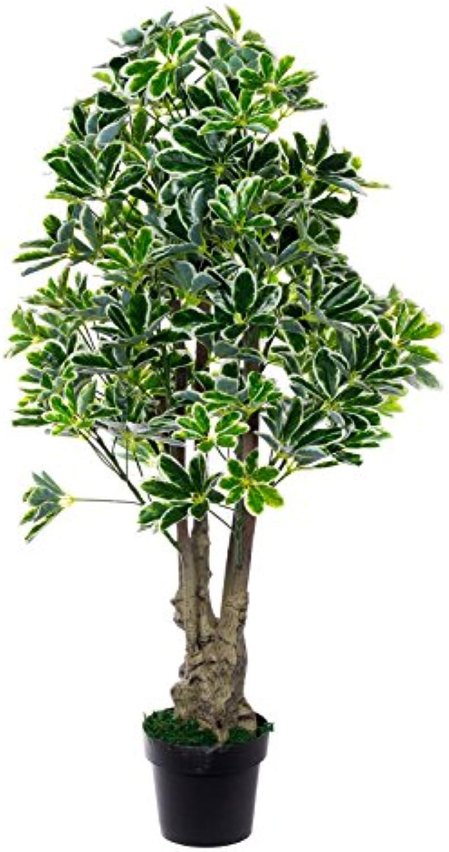 XXL Schefflera Baum JWS1831 Riesige künstliche Schefflera 130 cm hoch Strahlenaralie, mehrfarbige Bltter,Kunstpflanze, KunstBlaume, Kunstbaum, Zimmerpflanze künstlich