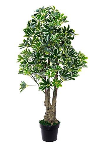 XXL Schefflera Baum JWS1831 Riesige künstliche Schefflera 130 cm hoch Strahlenaralie, mehrfarbige Blätter,Kunstpflanze, Kunstblume, Kunstbaum, Zimmerpflanze künstlich