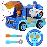 STEM Remote Control Take Apart Police Truck with Built-in Lights and Sounds and Electric Drill for Kids Assembly Vehicle Toy RC City Car Collection
