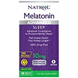 Natrol Melatonin Advanced Sleep Tablets with Vitamin B6, Helps You Fall Asleep Faster, Stay Asleep Longer, 2-Layer Controlled Release, 100% Drug-Free, Maximum Strength, 10mg, 100 Count